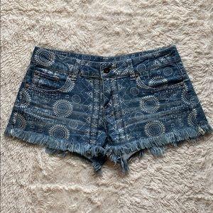 Ocean Drive Boho Patterned Fringe Jean Shorts